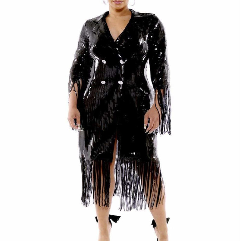 Posh Shoppe: Plus Size Fringe Coat Dress, Black Sequin Dress