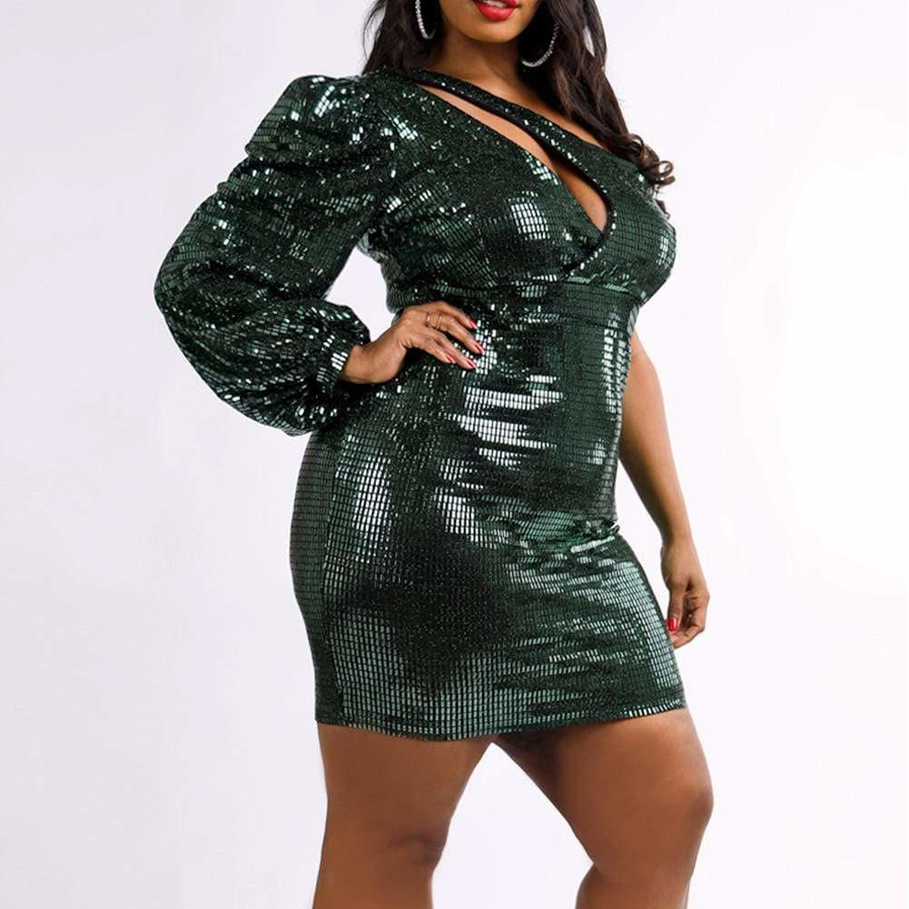 Posh Shoppe: Plus Size Cut Out One Shoulder Sequin Mini Dress
