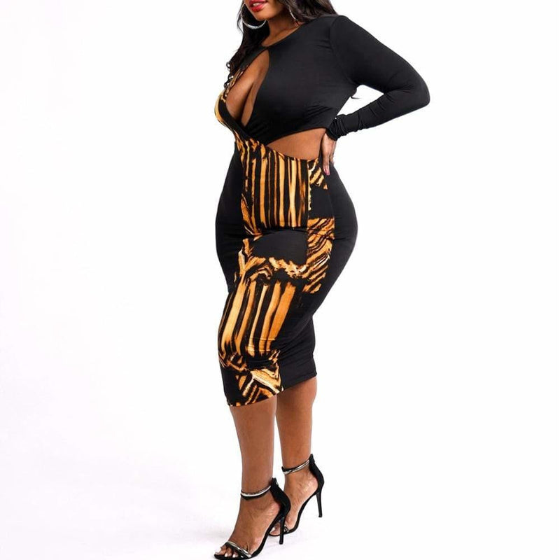 Posh Shoppe: Plus Size Cut Out Split Print Midi Dress