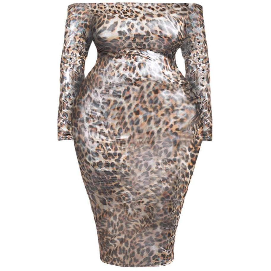 Posh Shoppe: Plus Size Opalescent Animal Print Off Shoulder Dress Dress