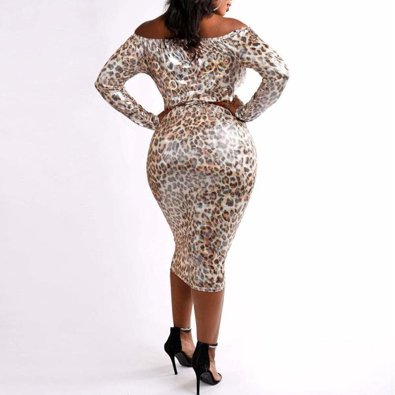 Plus Size Opalescent Animal Print Off Shoulder Dress