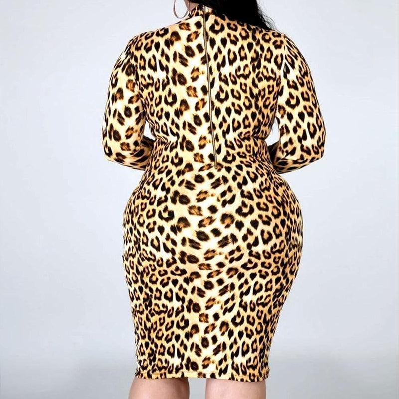 Posh Shoppe: Plus Size Reversible Zip Up Dress, Leopard Print Dress