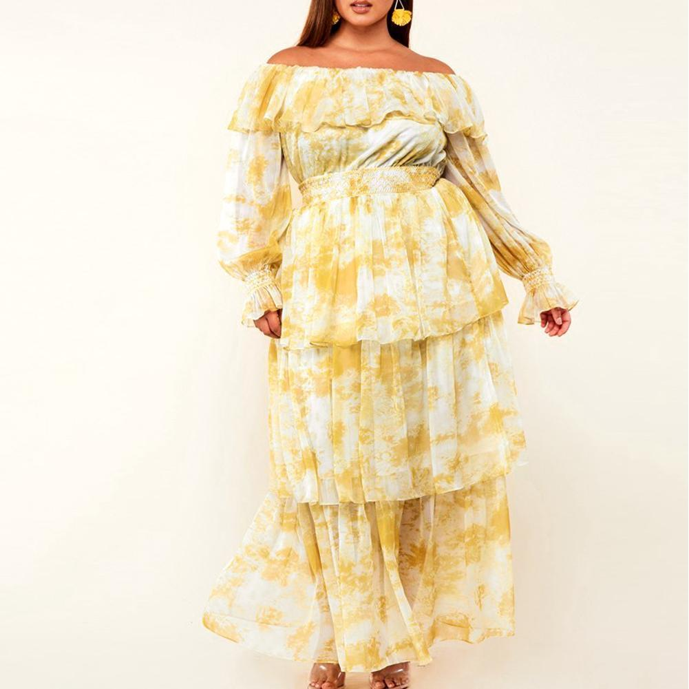 Plus Size Ruffled Chiffon Maxi Dress, Tie Dye