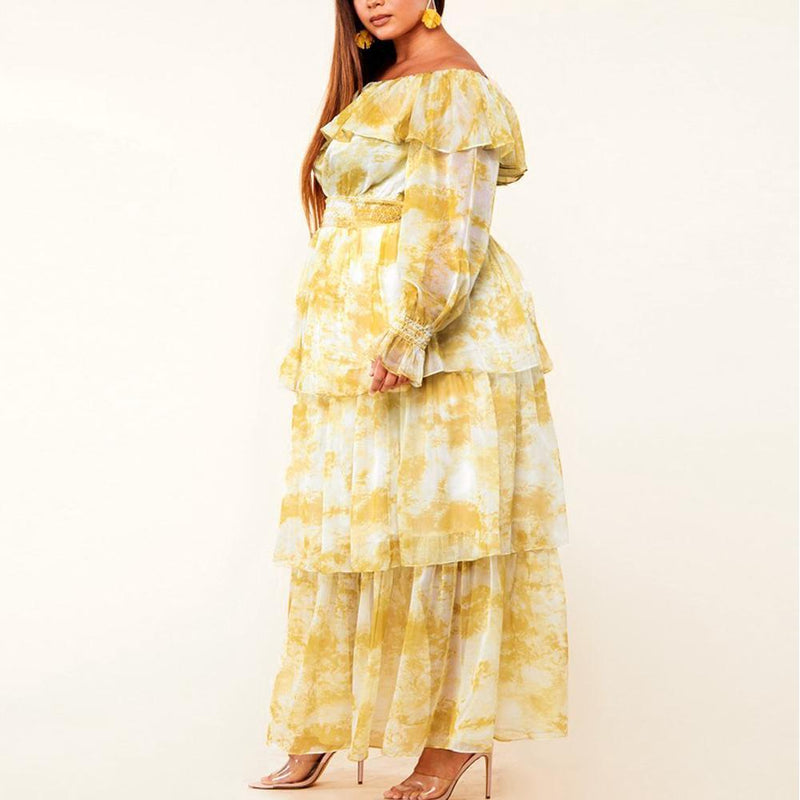Posh Shoppe: Plus Size Ruffled Chiffon Maxi Dress, Tie Dye Dress