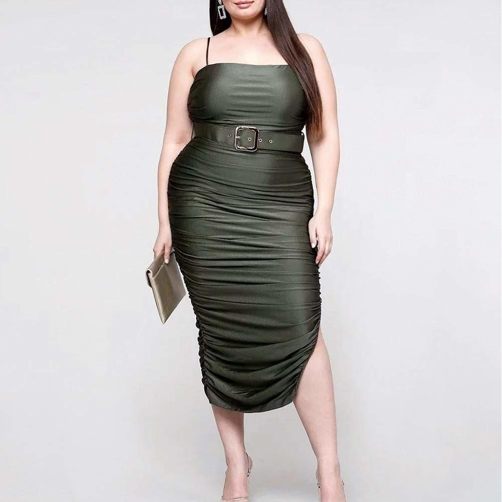 Plus Size Ruche Belted Midi Dress, Olive
