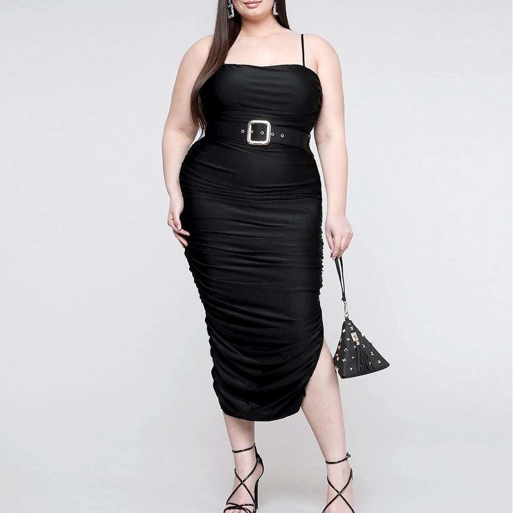 Plus Size Ruche Belted Midi Dress, Black