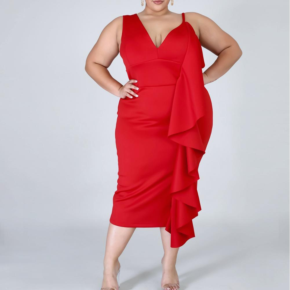 Plus Size Cascade Shift Dress, Red