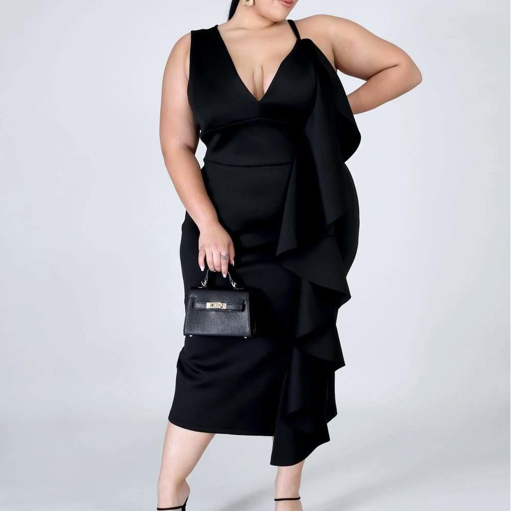 Plus Size Cascade Shift Dress, Black