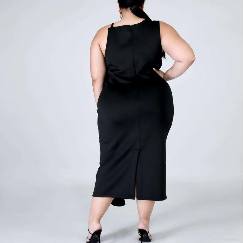 Posh Shoppe: Plus Size Cascade Shift Dress, Black Dress