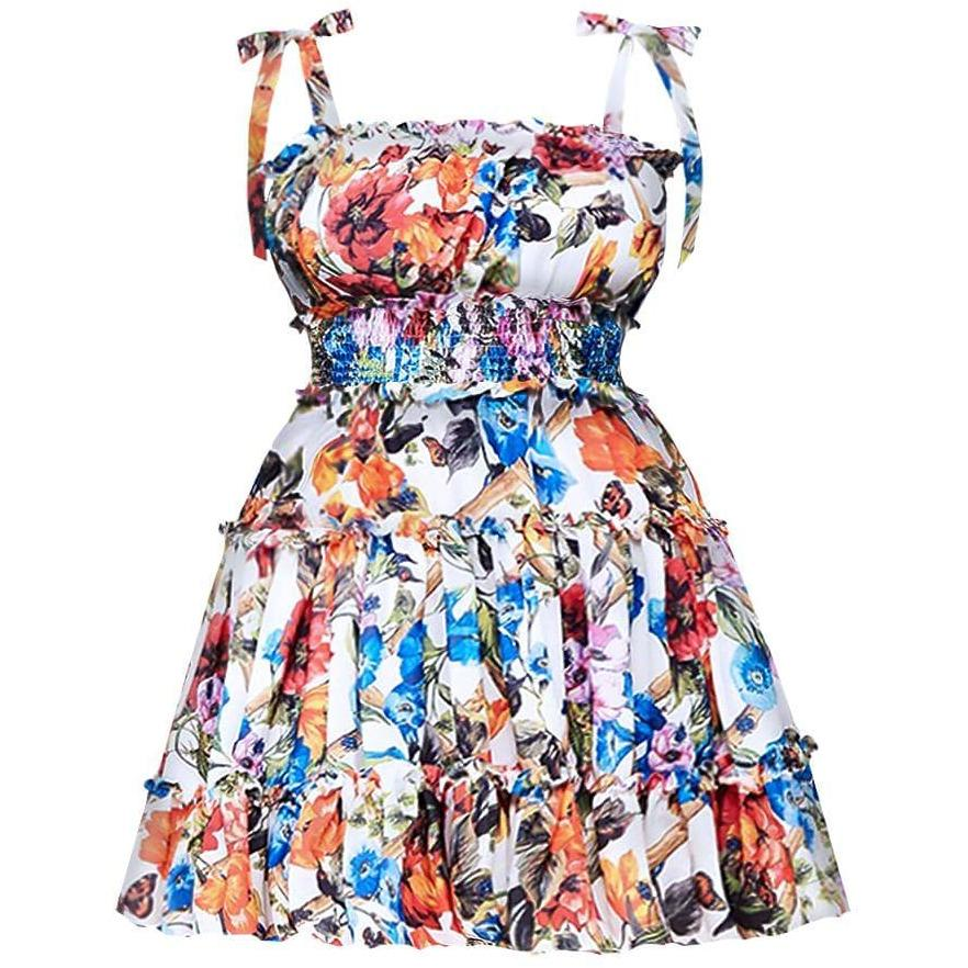 Plus Size Smocked Floral Print Dress