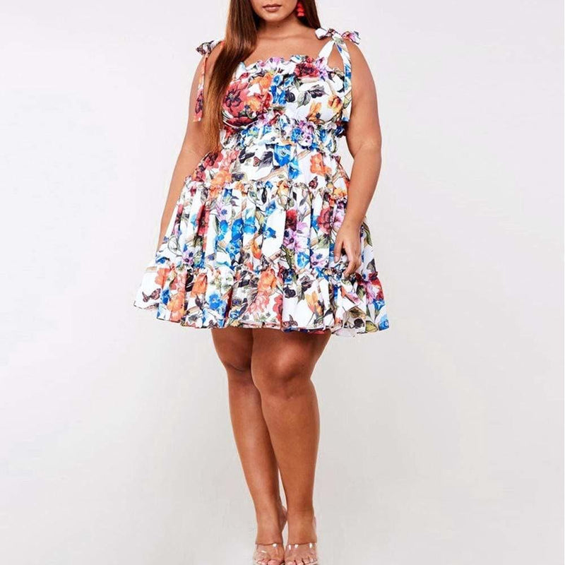 Posh Shoppe: Plus Size Smocked Floral Print Dress Dress