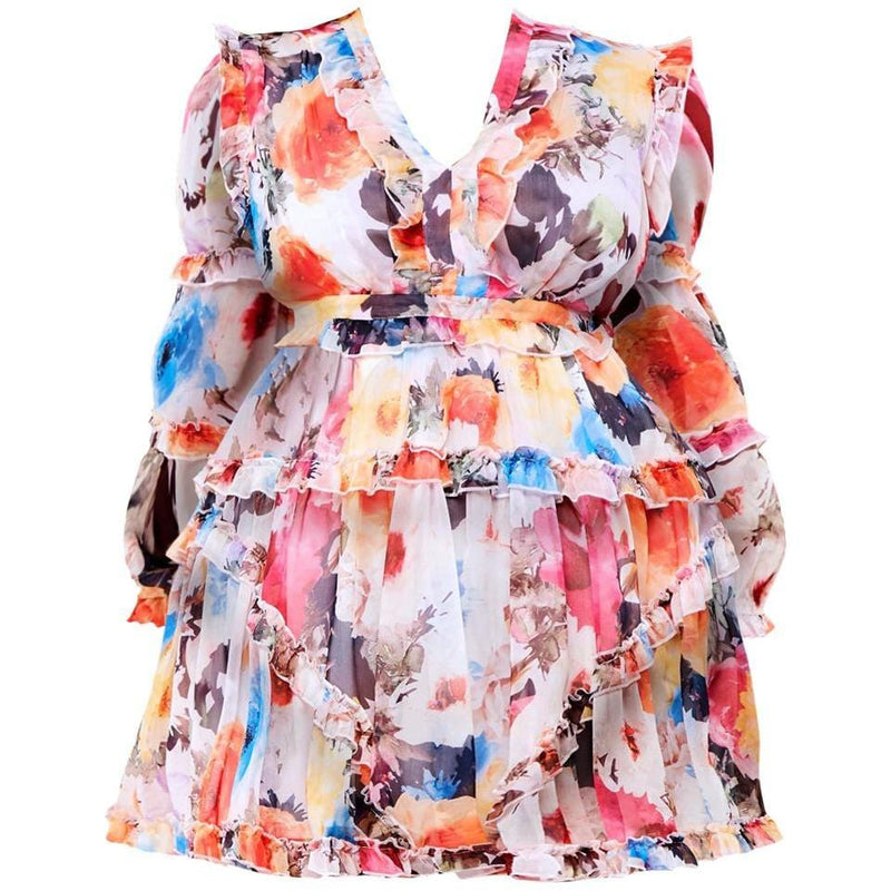 Posh Shoppe: Plus Size Lace Up Back Chiffon Floral Mini Dress
