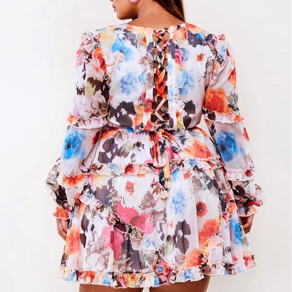 Plus Size Lace Up Back Chiffon Floral Mini