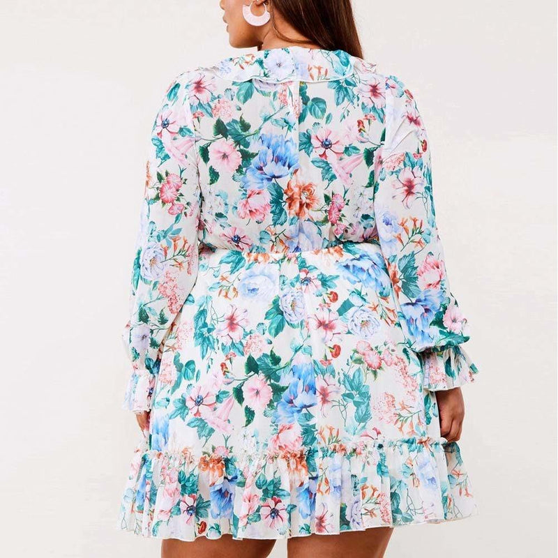 Posh Shoppe: Plus Size Tassel Tie Chiffon Floral Mini Dress