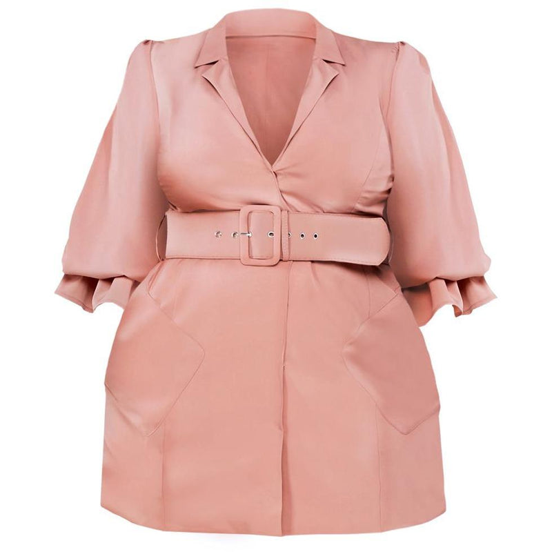 Posh Shoppe: Plus Size Puff Sleeve Trench Mini, Blush Outerwear