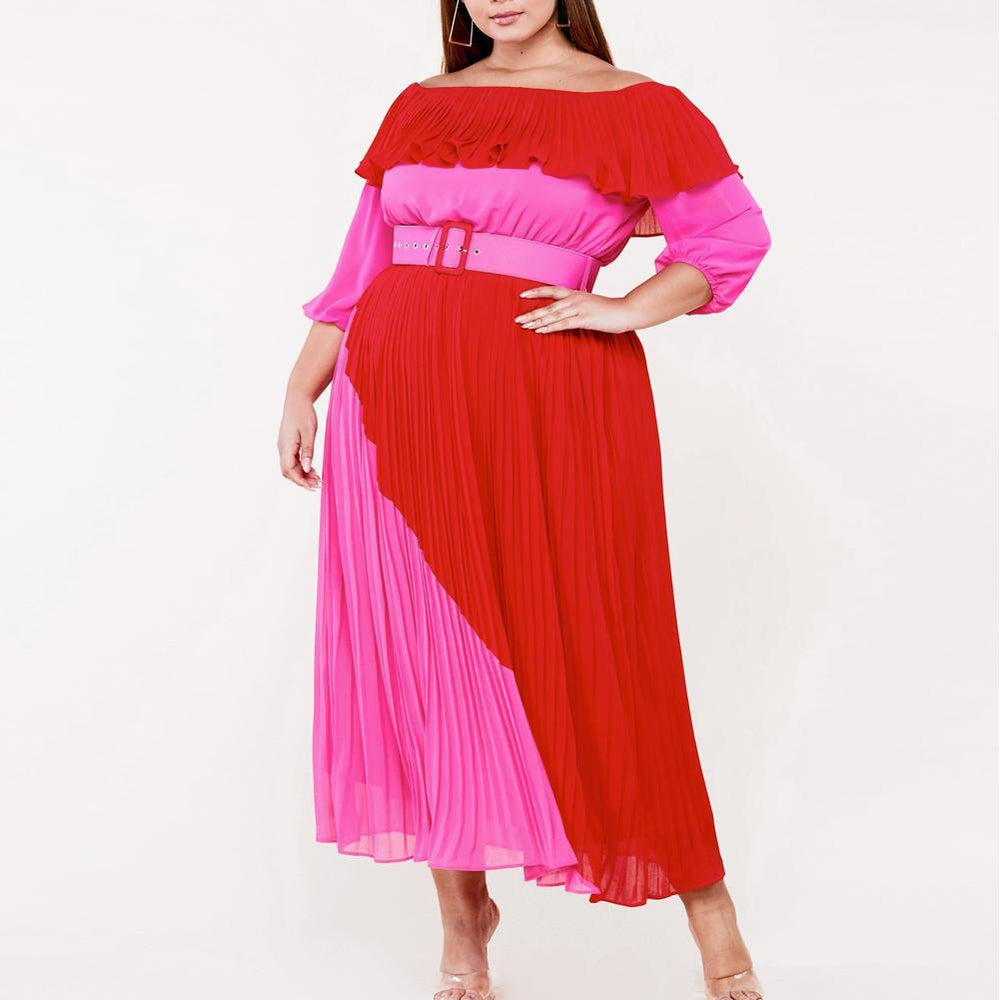 Posh Shoppe: Plus Size Color Block Pleated Maxi Dress Dress