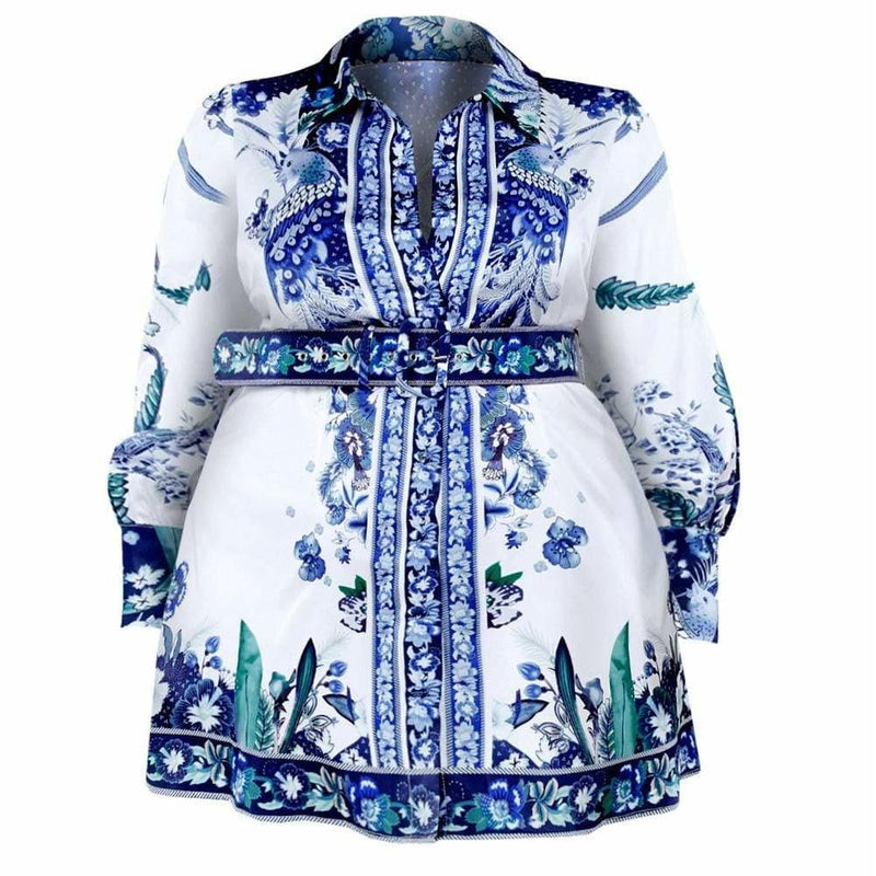 Posh Shoppe: Plus Size Belted Shirt Dress Dress