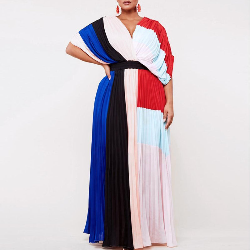 Posh Shoppe: Plus Size Color Block Goddess Maxi Dress