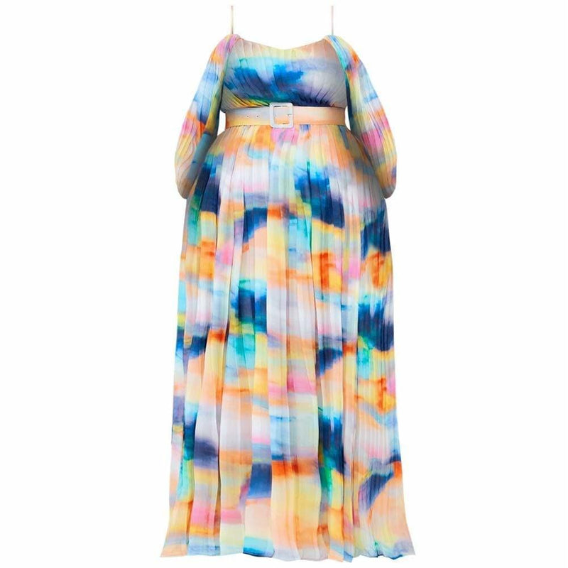 Plus Size Pleated Maxi Dress, Mermaid Dip Dye