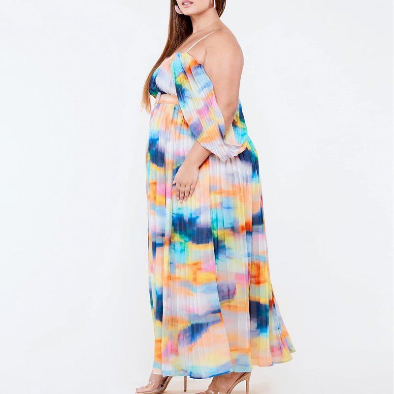 Posh Shoppe: Plus Size Watercolor Goddess Maxi Dress