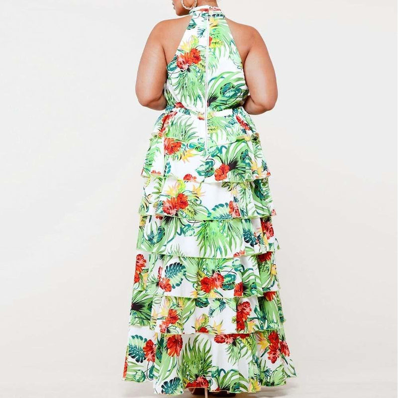 Posh Shoppe: Plus Size Tiered Ruffle Tropical Print Gown Dress