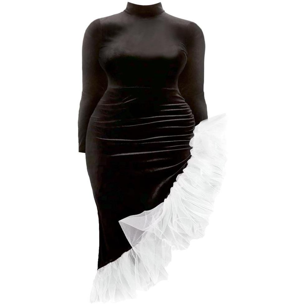 Posh Shoppe: Plus Size Black Velvet Dress with Bias Tulle Trim Dress
