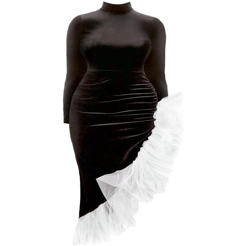 Plus Size Matte Finish Strapless Dress, Black
