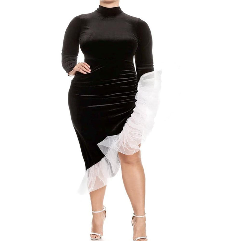 Plus Size Black Velvet Dress with Bias Tulle Trim