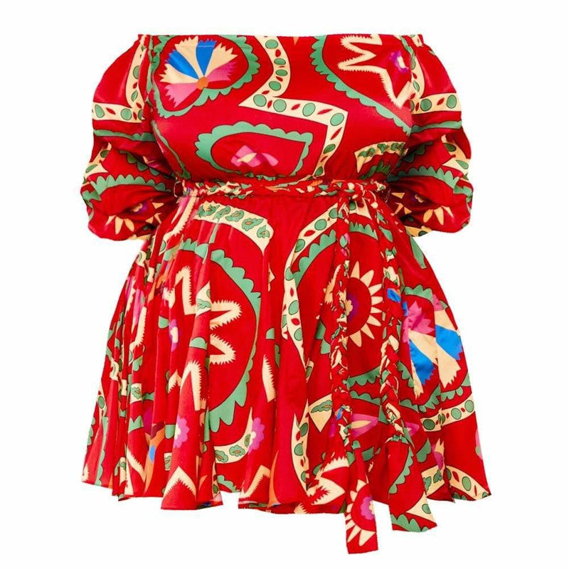 Plus Size Printed Flare Dress, Pink Palms