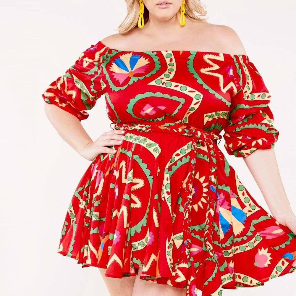 Posh Shoppe: Plus Size Puff Sleeve Pleat Mini Dress, Stamp Print Dress