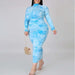 Posh Shoppe: Plus Size Zip Up Ruched Tie Dye Dress, Baby Blue Dress