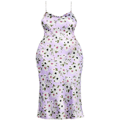 Posh Shoppe: Plus Size Sateen Slip Dress, Lavender Floral Dress