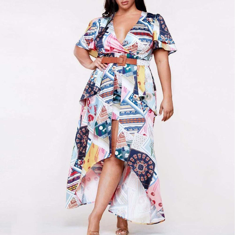 Posh Shoppe: Plus Size High Low Mix Print Dress Dress