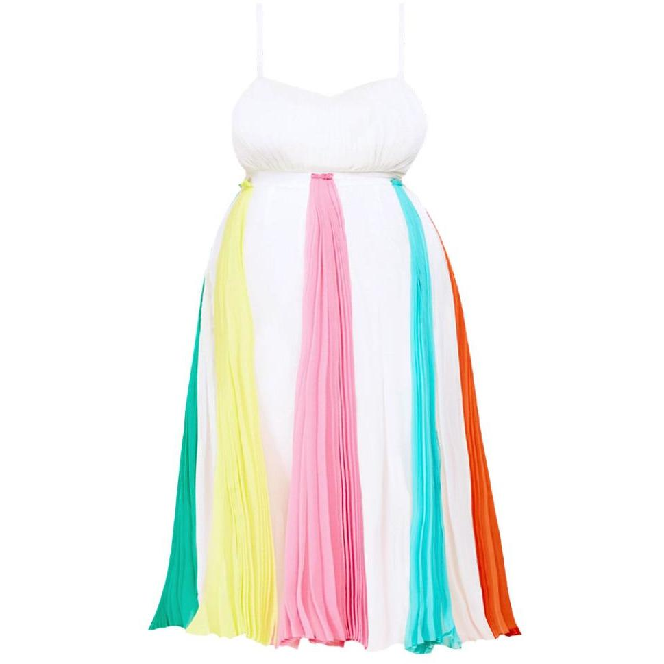 Posh Shoppe: Plus Size Rainbow Pleat Midi Dress Dress