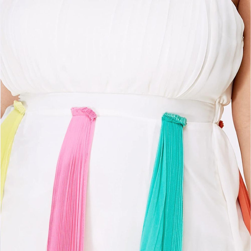 Plus Size Rainbow Pleat Midi Dress