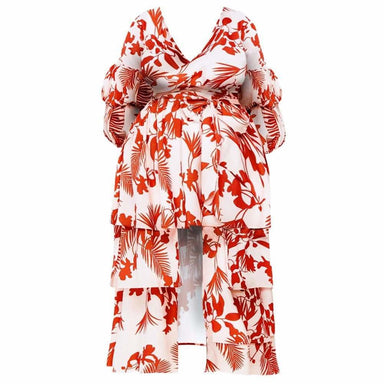 Posh Shoppe: Plus Size High Low Puff Sleeve Floral Dress Dress