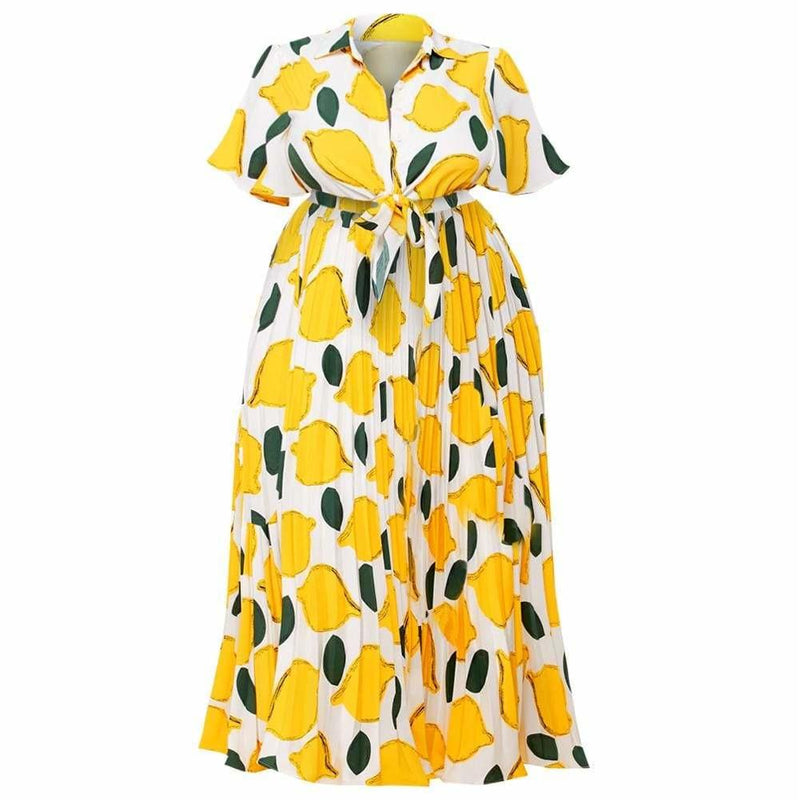 Posh Shoppe: Plus Size Shirt Dress, Lemon Print Dress