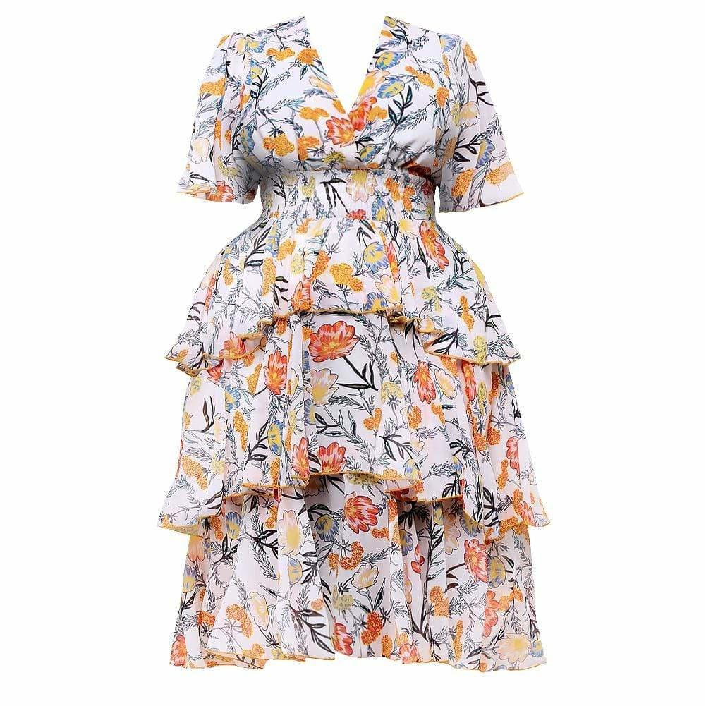Posh Shoppe: Plus Size Floral Print Tiered Midi Dress Dress