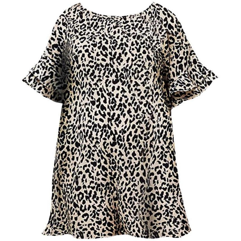 Posh Shoppe: Plus Size Flutter Sleeve Sateen Mini, Animal Print Dress