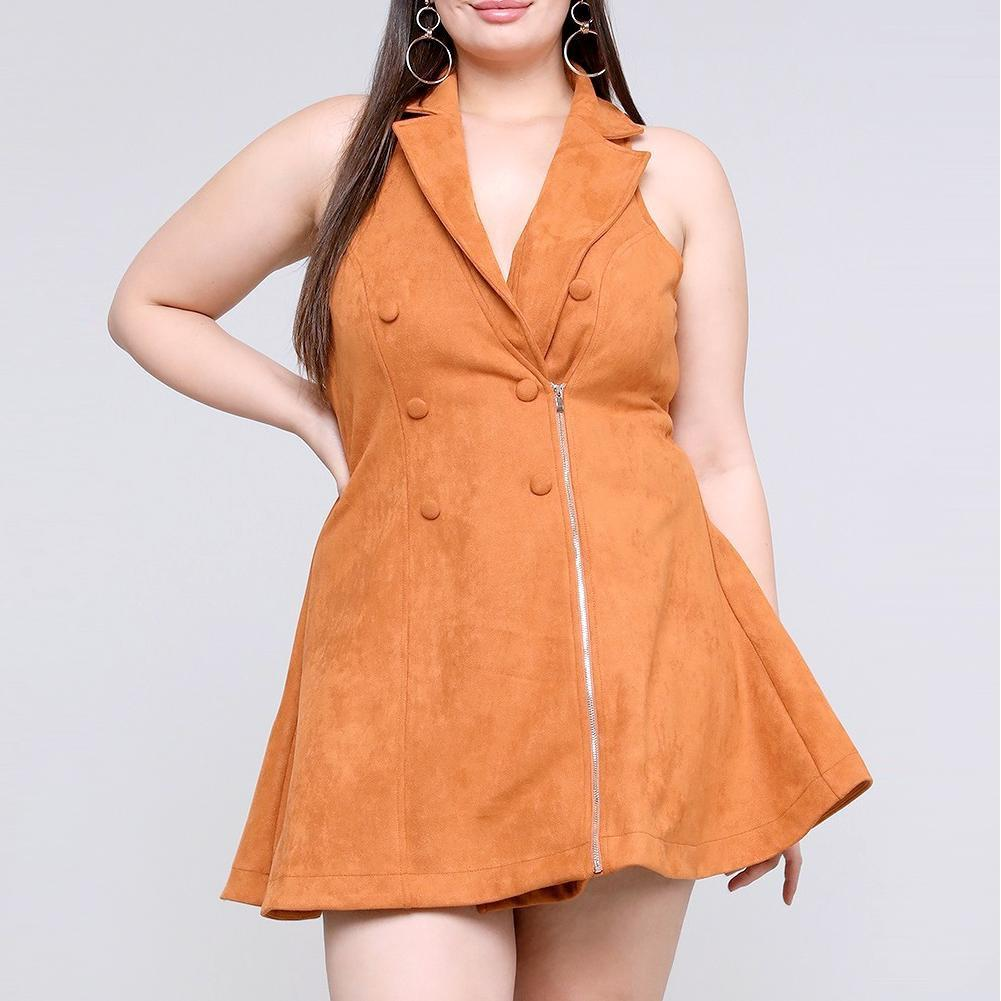 Posh Shoppe: Plus Size Faux Suede Vest Dress, Fawn Dress