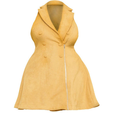Posh Shoppe: Plus Size Faux Suede Vest Dress, Soft Yellow Dress