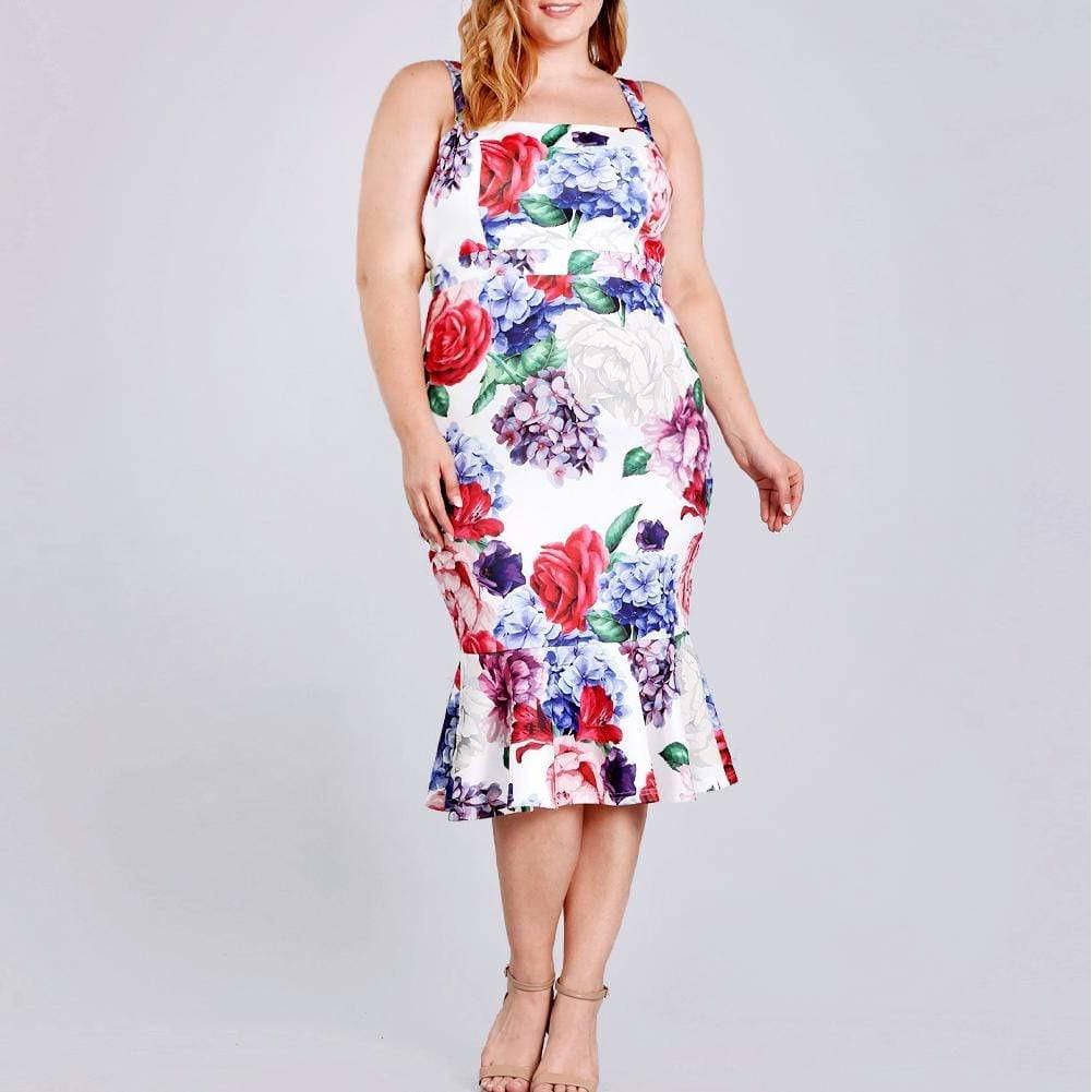 Posh Shoppe: Plus Size Peplum Hem Midi, Floral Print Dress
