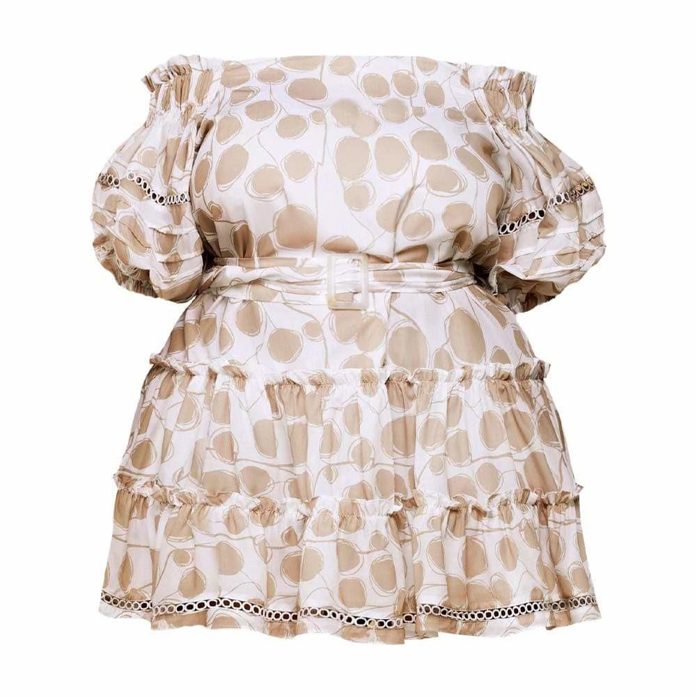 Posh Shoppe: Plus Size Puff Sleeve Pleat Mini Dress, Beige Dots Dress