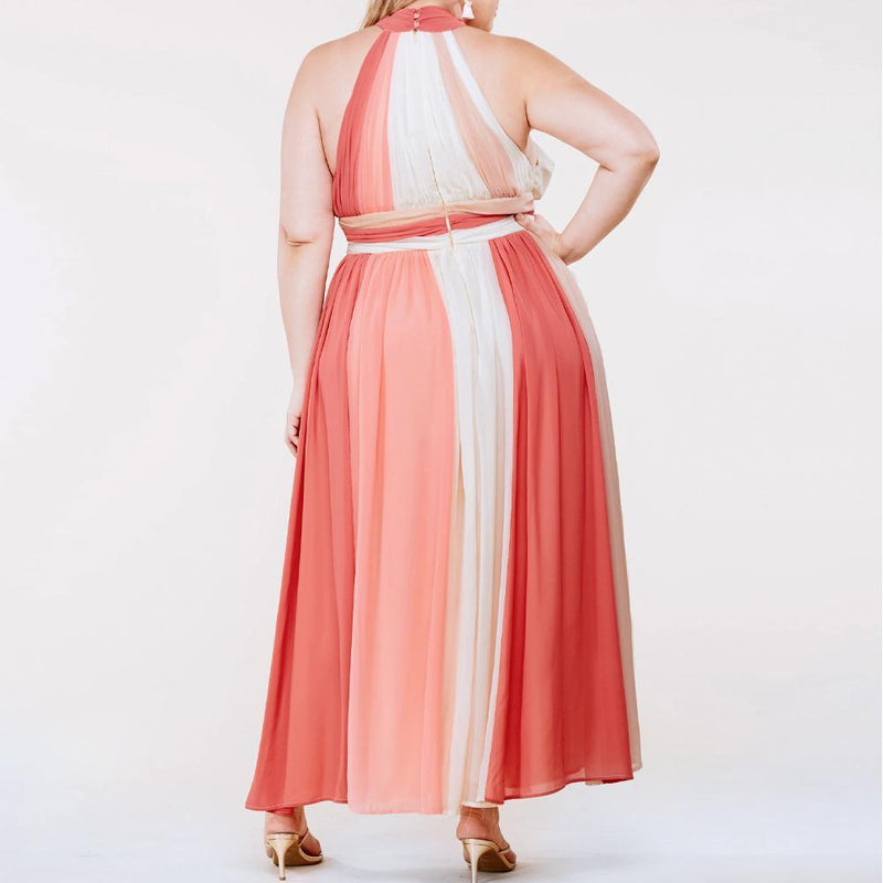 Posh Shoppe: Plus Size Color Block Halter Chiffon Maxi Dress