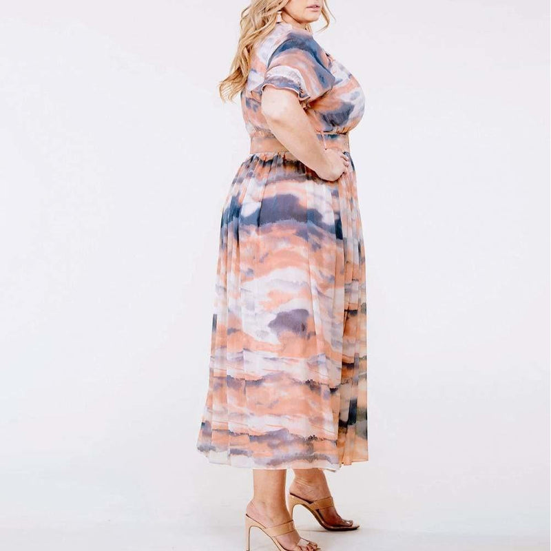 Posh Shoppe: Plus Size Chiffon Puff Sleeve Midi Dress Dress