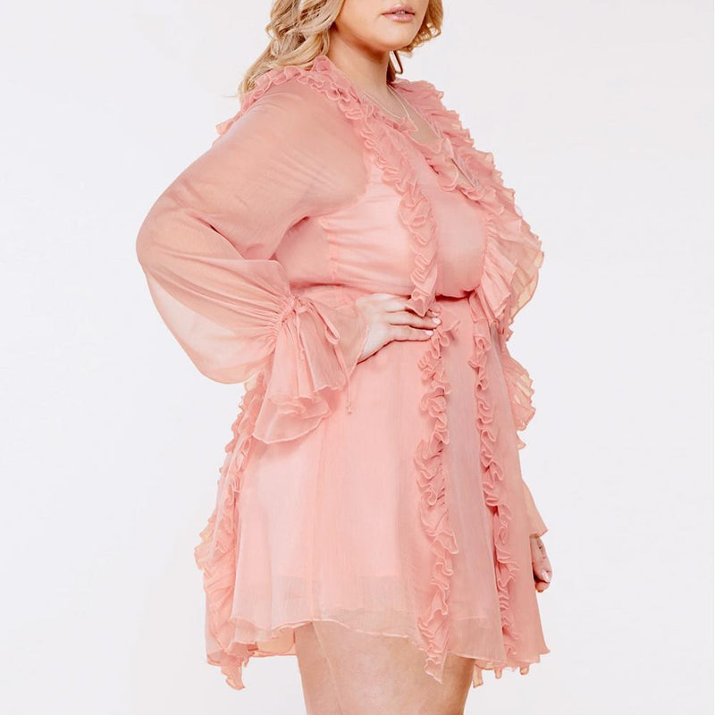 Posh Shoppe: Plus Size Lace Up Chiffon Mini, Blush Dress