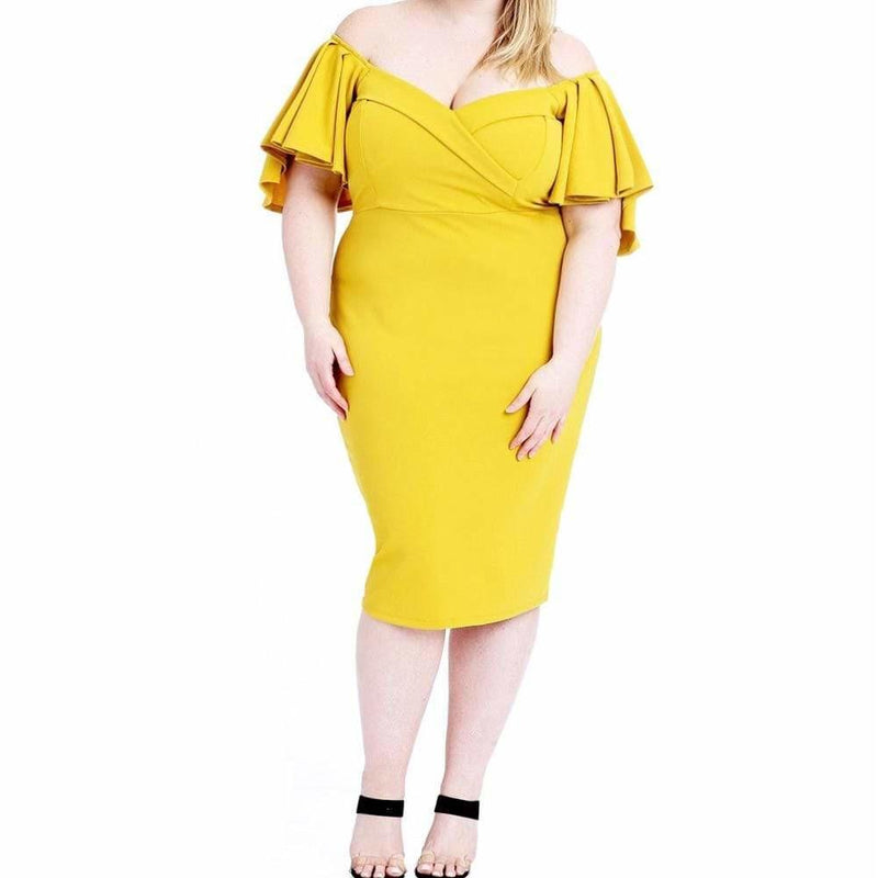 Posh Shoppe: Plus Size Flutter Sleeve Midi, Citron Dress