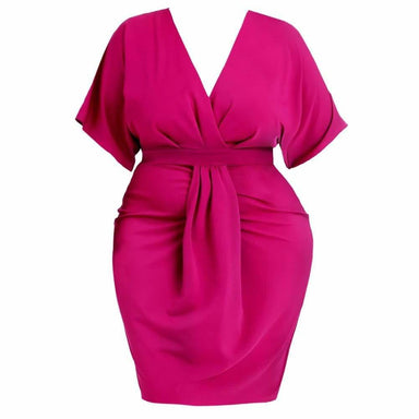 Posh Shoppe: Plus Size Draped Kimono Dress, Pink Dress