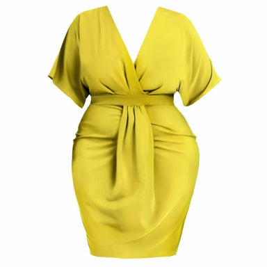 Posh Shoppe: Plus Size Draped Kimono Dress, Citron Dress