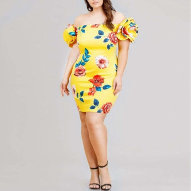 Posh Shoppe: Plus Size Puff Rosette Sleeve Mini Dress Dress